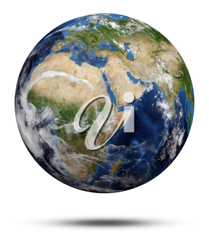 Africa and Asia. Earth globe 3d rendering, maps courtesy of NASA