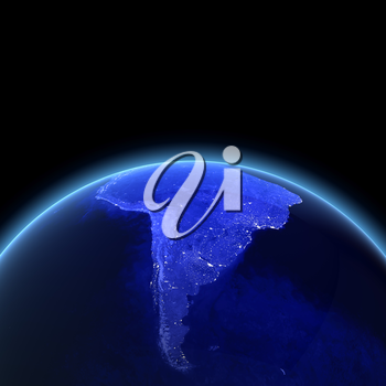 South America 3d rendering. Maps from NASA imagery