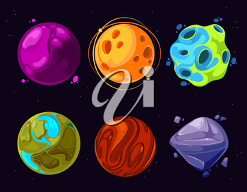 Space planets, asteroid, moon, fantastic world game vector cartoon icons. Color asteroid and planet, illustration fantastic universe with cartoon planets