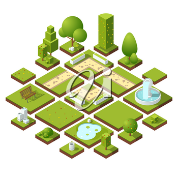 Isometric urban elements and garden decoration. Benches, fountain trees and bushes. Vector illustration set. Urban decoration elements for garden or park, outdoor landscape design elements
