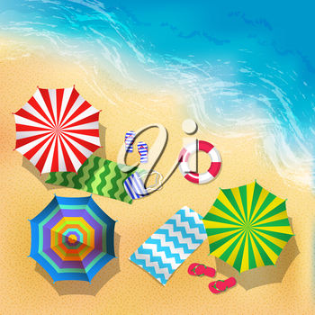 Top view vector illustration of beach, sand and umbrella. Summer background. Summer sand beach with colored umbrella, view to sea beach