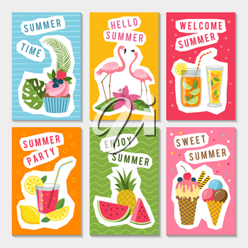 Vector summer party labels set with different tropical illustrations. Summer holiday banner with fruit, ice cream and fresh beverage