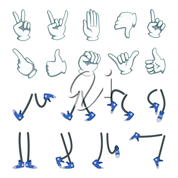 Vector big set of hands and legs. Collection for cartoon animation. Hand and leg, human character foot and arm illustration