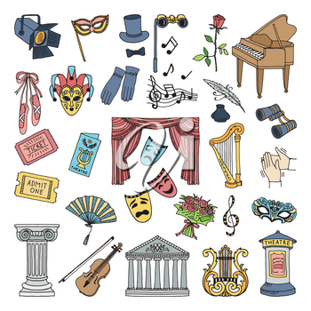 Colored symbols of theatre. Ballet and opera vector icons set isolate. Opera mask, music and performance comedy and drama illustration
