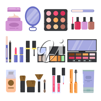 Different perfume and cosmetics set. Makeup illustrations in flat style. Vector cosmetic lipstick and mascara, fashion brush and eyeshadow