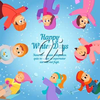 Winter background with happy school kids. Poster template with place for your text. School winter holiday, happy cartoon kids, vector illustration