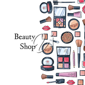 Vector hand drawn makeup products background with place for text illustration
