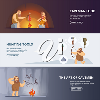 Caveman and woman in prehistoric period. Banners set with place for your text. Primitive woman and neanderthal with weapon, vector illustration