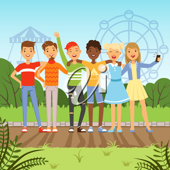 Big friendly group of multiracial teenagers. Vector background picture in cartoon style. Young teenager people illustration