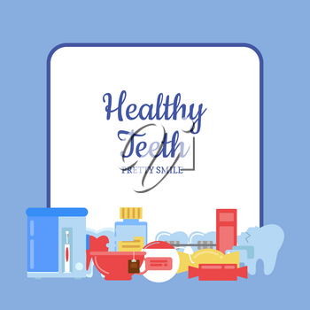 Vector flat style teeth hygiene icons pile below frame with place for text illustration