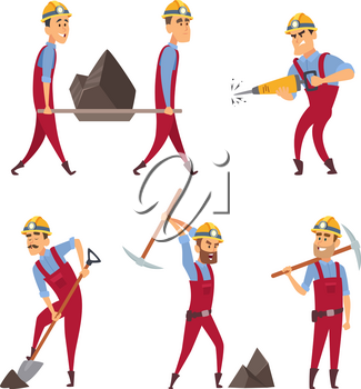 Set of working people. Miners in different action poses. Vector miner worker character illustration