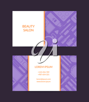 Vector business card template for beauty brand or makeup artist with flat style makeup and skincare background with rectangles, stripes and shadows illustration