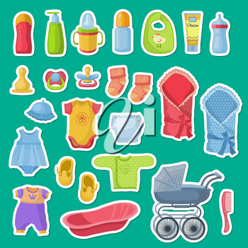 Vector baby accessories stickers isolated on blue background. Illustration of sticker carriage and pacifier, diaper and clothing