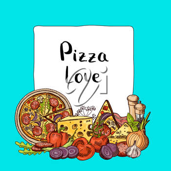 Vector italian pizza sketched elements pile below frame with place for text illustration