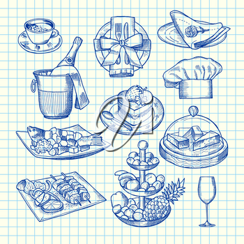 Vector hand drawn restaurant or room service elements set on blank cell sheet illustration