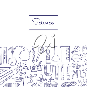 Vector banner with sketched science or chemistry elements background with place for text illustration