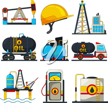 Petroleum and gas icons. Vector illustrations isolate on white. Oil and gas fuel, energy power industrial