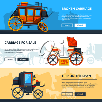 Banners with carriage pictures. Horizontal banners with place for your text. Antique transport, chariot cart, carriage or coach. Vector illustration