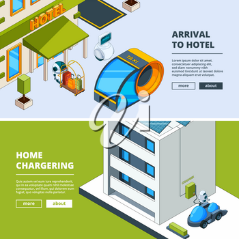 Futuristic transport and robots. Banners template with isometric low poly city of future. Car vehicle transportation, transport auto. Vector illustration