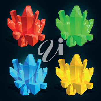 Crystal, diamond and ice rock isolated. Vector illustrations for games. Color rock treasure, colored stone mineral