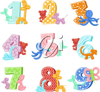 Inflatable animals with birthday numbers. Vector illustrations. Design template of invitation cards for kids party. Birthday and inflatable balloon in shape animals