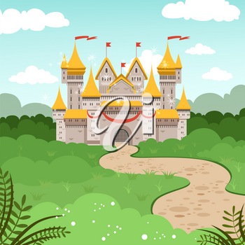 Fantasy landscape with fairytale castle. Vector illustration in cartoon style. Medieval tower house, cartoon fortress castle building