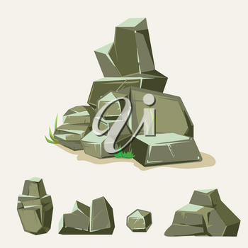 Set of jungle rocks.Rock stone with grass. Cartoon isometric 3d flat style. Set of different boulders. Vector illustration