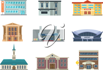 Different municipal buildings. Police station, school, hospital. Bank, business center and others. Vector pictures in cartoon style. Illustration of building architecture urban collection