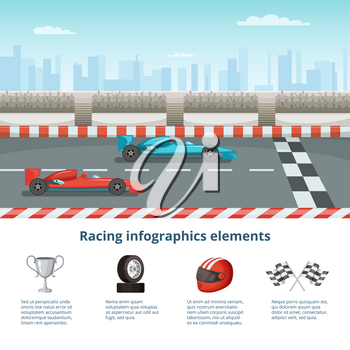 Sport infographic with race cars of formula 1. Different cars and driver tools. Formula one race car. Vector illustration