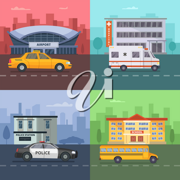 Background illustrations with different municipal transport. Hospital and school, airport and police station, set of transport car