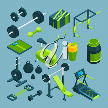 Different equipment for bodybuilding and powerlifting. Fitness accessories for powerlifting and bodybuilding, sport, barbell and dumbbell. Vector illustration