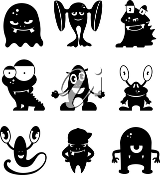 Black monsters silhouettes. Vector set of monochrome characters illustration flat