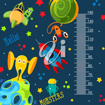 Funky monsters with a rockets and planets in space. Stadiometer vector illustration