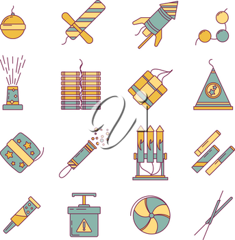 Dynamite, bomb, fireworks and other pyrotechnics tools. Vector linear illustration. Firecracker and pyrotechnic, petard and rocket vintage style