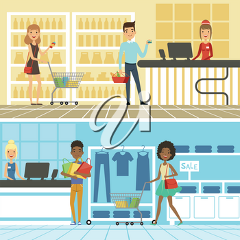 Groups of funny and happy people make shopping in supermarket. Vector horizontal banners shop and store, retail market with shopper illustration