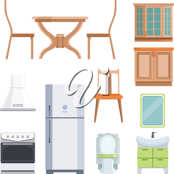 Different furniture for living room and kitchen. Furniture interior for kitchen, table and chair. Vector illustration