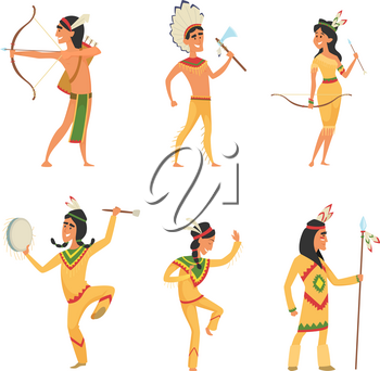 Set characters in cartoon style. Traditional American indians. Character traditional american culture, ethnic costume with feather. Vector illustration
