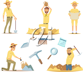 Vector archaeologist characters at work. Cartoon mascots in action poses. Illustration of young adventure and explorer, archaeology traveler