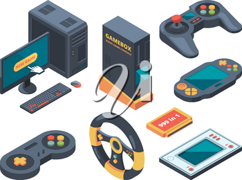 Console and computer systems and gadgets for gamers. Computer and gadget controller, console play, control game device. Vector illustration