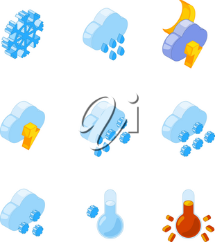 3D isometric of various weather symbols. Rain and snow icon illustration