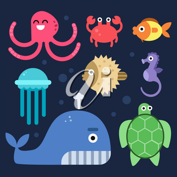 Sea life. Fishes and others underwater mammals. Vector sea life underwater, fish and octopus, jellyfish and seahorse illustration