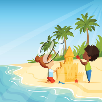 Summer beach and funny happy kids playing with sand castles. Sandcastle building, activity game vector illustration