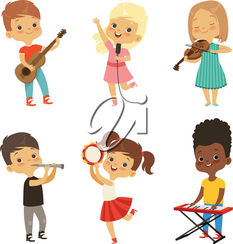 Different kids singing. Musicians isolate on white. Vector musician young, singer with microphone,performance, talent performer illustration