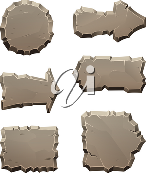 Stone move direction panels and blocks isolate on white. Cartoon arrow rock panel, rectangle pointer boulder block. Vector illustration
