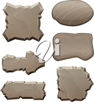 Panels from stones and rocks. Vector pictures isolate. Stone and rock panel, illustration of interface game