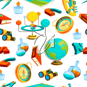 Science seamless pattern. Vector pictures of geography and science. Illustration of binoculars and sextant, burner and compass
