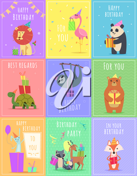 Birthday cards with animals. Wildlife zebra turtle lion and monkey characters at gift celebration colored vector cards. Illustration of birthday card with monkey and lion