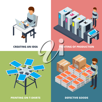 Printing office isometric. Printer laser colored copier plotter offset digital inkjet machines vector 3d pictures. Illustration of printer and printout inkjet device