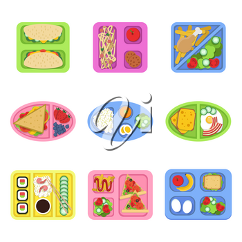 Lunch box. School fresh healthy food in plastic containers with vegetables, meal and sliced products for breakfast. Vector pictures container with breakfast, fresh healthy lunch illustration