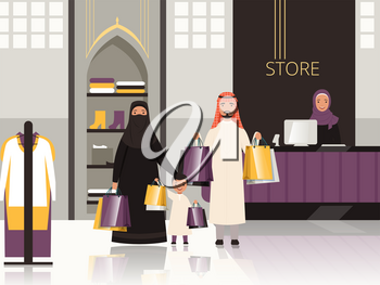Saudi in market. Arabic family checkout in grocery store shop or supermarket pay money for foods vector cartoon background. Arab saudi family shopping with package illustration